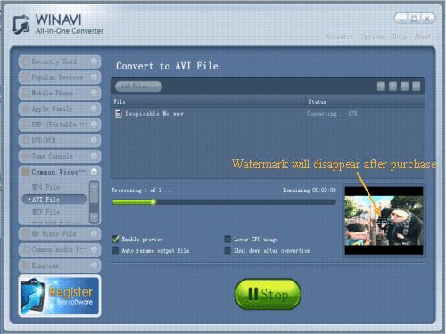 convert wmv to avi with WinAVI All In One converter - screenshot