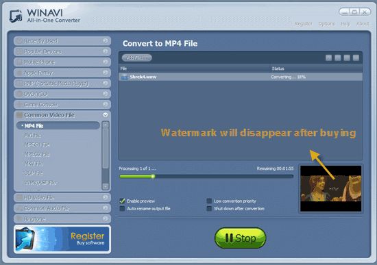 WinAVI All-In-One Video convert wmv to mp4 - screenshot