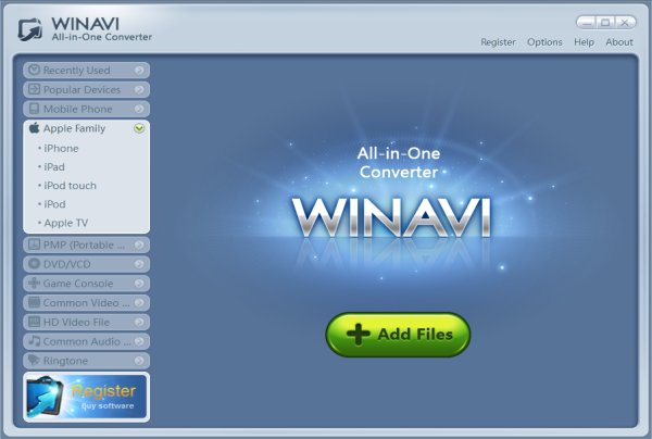 Click to view WinAVI All In One Converter 1.7.0.4734 screenshot