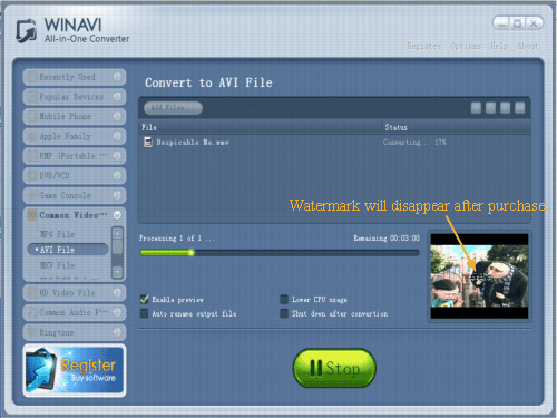 convert wmv to avi with WinAVI All In One converter - screenshot